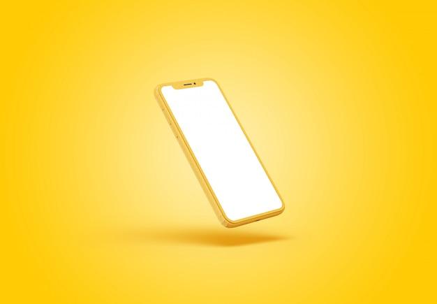 Smartphone-prototyp mit schirmmodell im gelben hintergrund