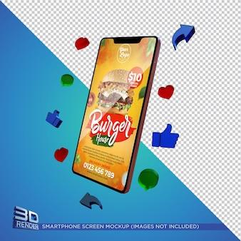 Smartphone screen mockup 3d render isoliert