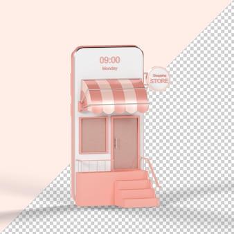 Smartphone-shopping-shop isoliert 3d-rendering