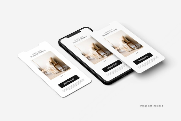 Smartphone-ton und bildschirmmodell-rendering isoliert