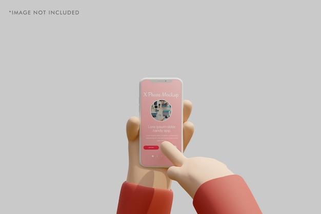 Smartphone-tonmodell mit 3d-hand, die es hält