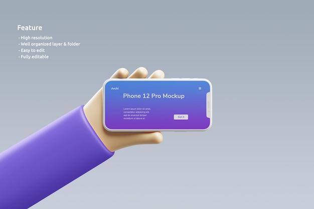 Smartphone-tonmodell mit einer süßen 3d-hand, die es hält