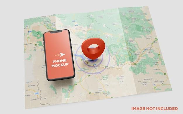 Smartphone und roter gps-pin auf kartenmodell