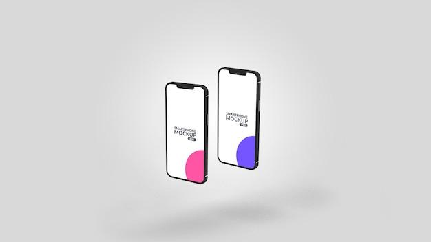 Smartphone zwei verschiedene bildschirm mockup design