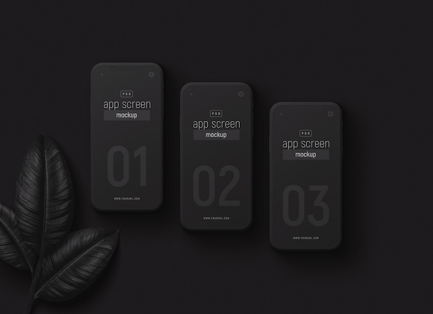 Smartphones setzen modell mit schwarzen blättern