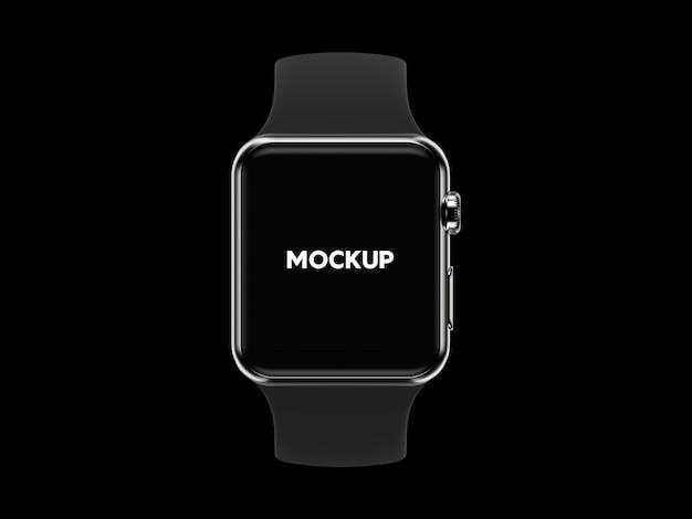 Smartwatch auf schwarzem hintergrund mock up design