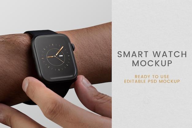 Smartwatch mit hologramm-mockup-psd-innovativer technologie