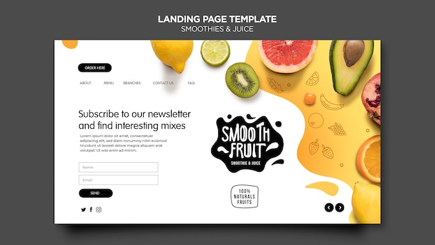 Smoothie bar landing page vorlage