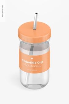 Smoothie cup mit deckelmodell, isometrische ansicht