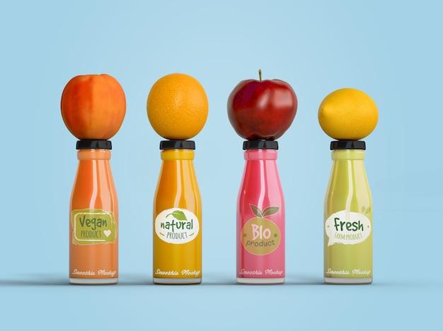 Smoothies der gesunden ernährung für detoxkonzept mit früchten