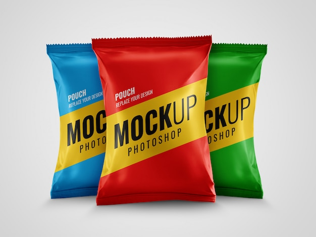 Snack pack pouch packaging mockup