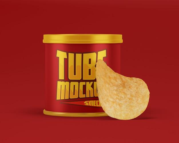 Snack-papierröhre mit chip-modell