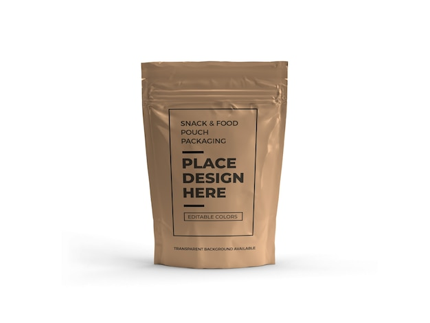 Snack pouch packaging mockup design isoliert