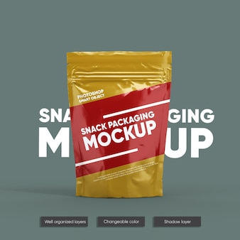 Snack pouch packaging mockup