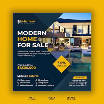 Social business-banner-vorlage des immobiliengeschäfts