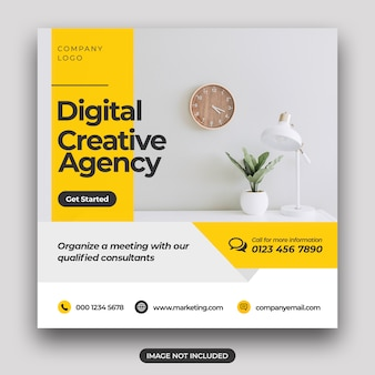 Social marketing banner & square flyer vorlage für digitales marketing