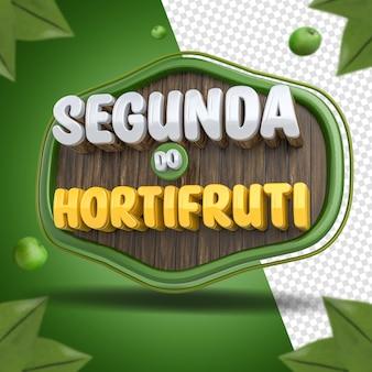Social media 3d-label montag lebensmittelgeschäft zusammensetzung für supermarkt-kampagne von brasilien
