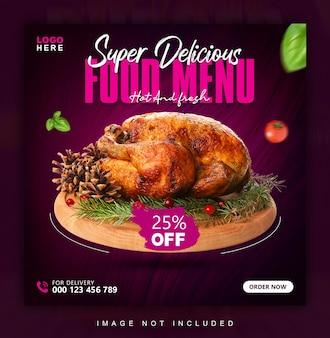 Social-media-banner oder post-design-vorlage für das essensmenü