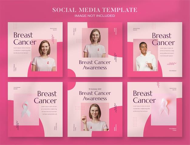 Social-media-banner und instagram-post-vorlage für den brustkrebs-aufklärungsmonat