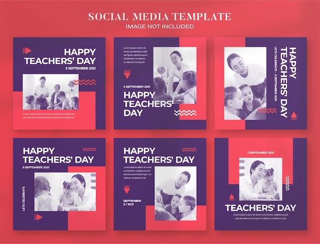 Social-media-banner und instagram-postvorlage zum lehrertag
