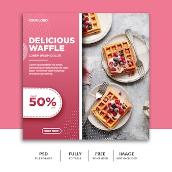 Social media banner vorlage instagram, essen rosa waffel