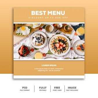 Social media banner vorlage instagram, food luxus bestes gold