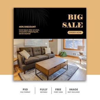 Social media banner vorlage instagram, möbel luxus big sale
