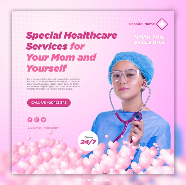 Social media banner vorlage mit krankenhauskonzept