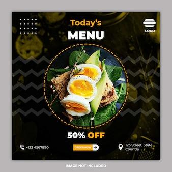 Social media banner vorlagen für kulinarische lebensmittel