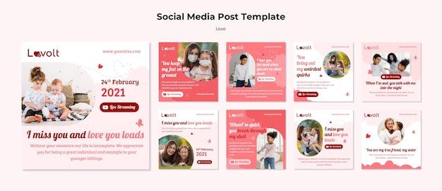 Social-media-beiträge der familie