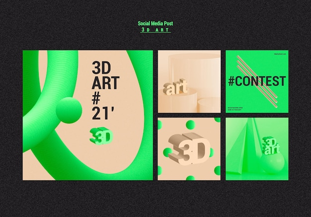 Social-media-beiträge des 3d-kunstwettbewerbs