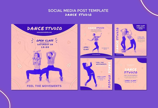 Social-media-beiträge des tanzstudios