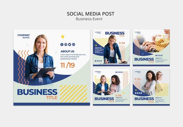 Social-media-beiträge für unternehmensvorlage
