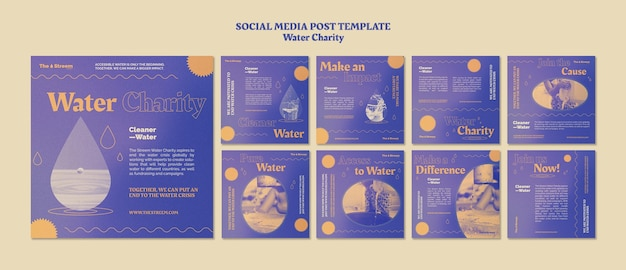 Social-media-beiträge für wasserhilfsorganisationen