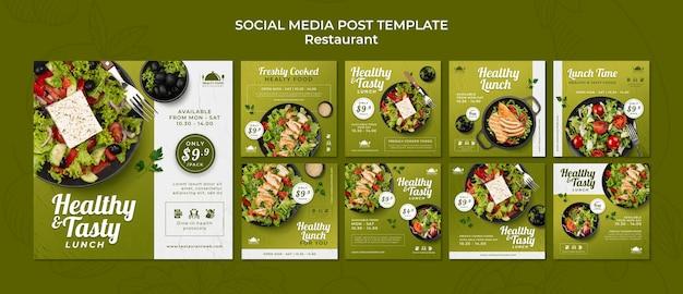 Social-media-beiträge im restaurant mit gesundem essen