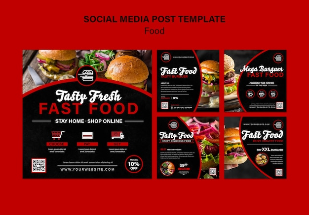 Social-media-beiträge zu fastfood