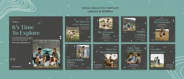 Social-media-beiträge zu freizeit und wildtieren
