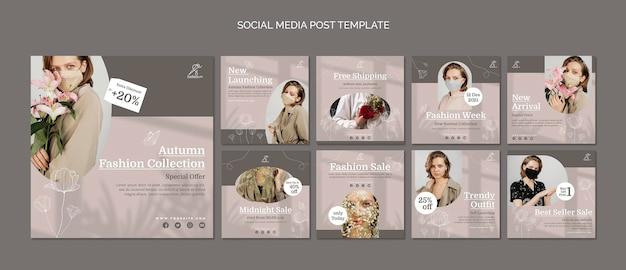 Social-media-beiträge zum modeverkauf