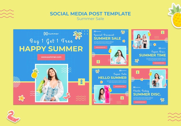 Social-media-beiträge zum sommerverkauf