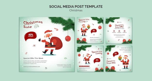 Social-media-beiträge zum weihnachtsverkauf
