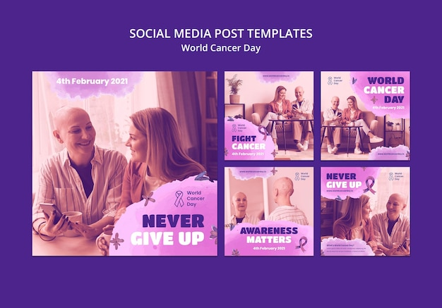 Social-media-beiträge zum weltkrebstag mit schleife