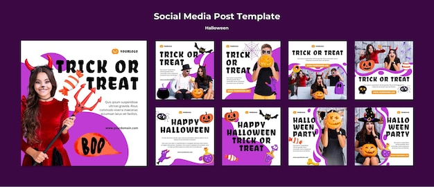 Social-media-beiträge zur halloween-feier