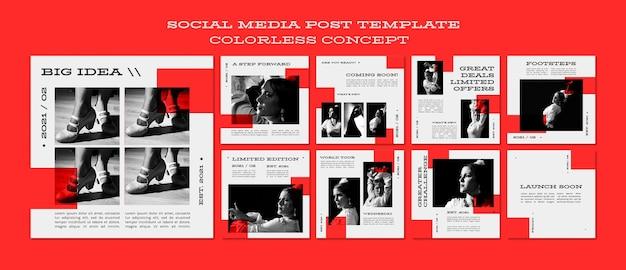 Social media-beitrag des farblosen konzepts