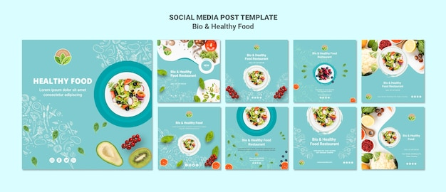 Social media-beitrag des gesunden lebensmittelrestaurants