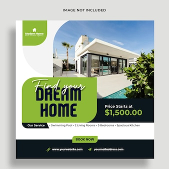 Social-media-beitrag für immobilien und webvorlagen premium ps