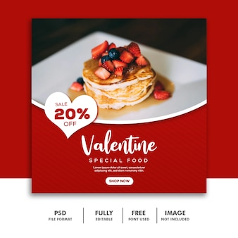 Social media-beitrag instagram valentine banner, lebensmittelkuchen-rot