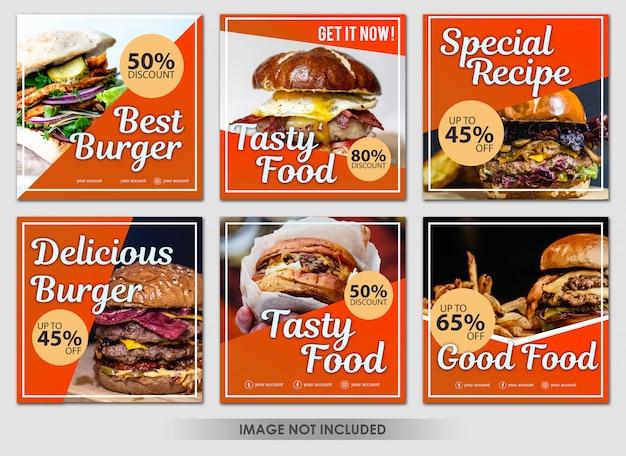 Social media-beitrag kulinarische orange burger-auflistung