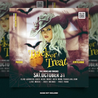 Social-media-beitrag zu halloween-horror-nacht-party