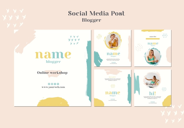 Social-media-beitrag zum blogger-konzept