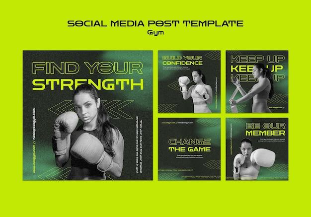 Social-media-beitrag zum training im fitnessstudio